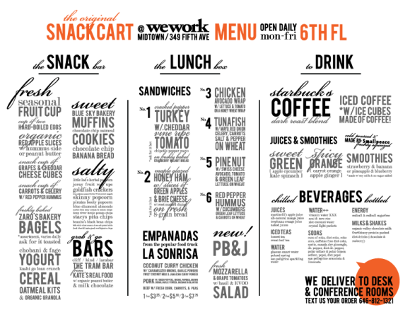 the snack cart menu at wework midtown